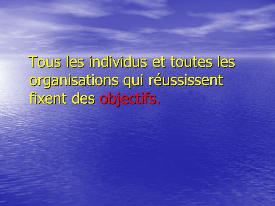 Tous les individus et toutes les organisations qui réussissent fixent des objectifs.