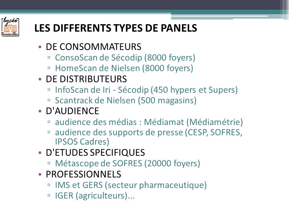 LES DIFFERENTS TYPES DE PANELS