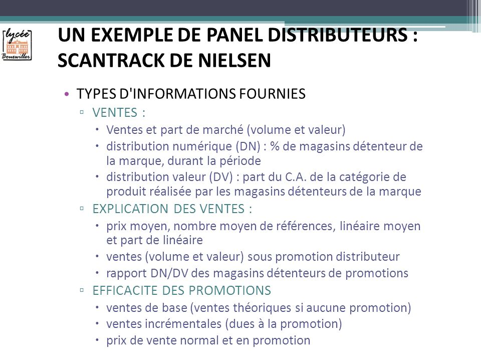 UN EXEMPLE DE PANEL DISTRIBUTEURS : SCANTRACK DE NIELSEN
