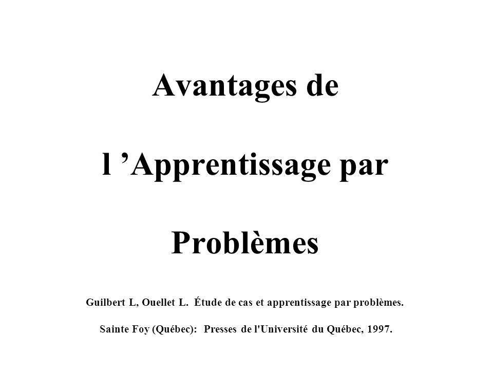 Avantages de l 'Apprentissage par Problèmes