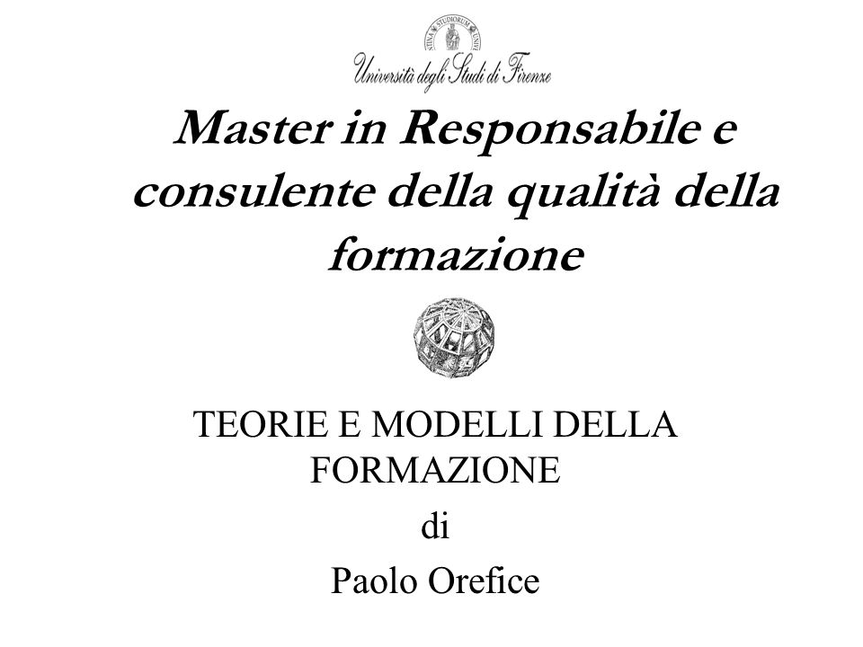 Master in Responsabile e consulente della qualità della formazione