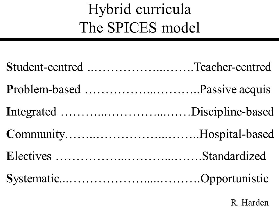 Hybrid curricula The SPICES model