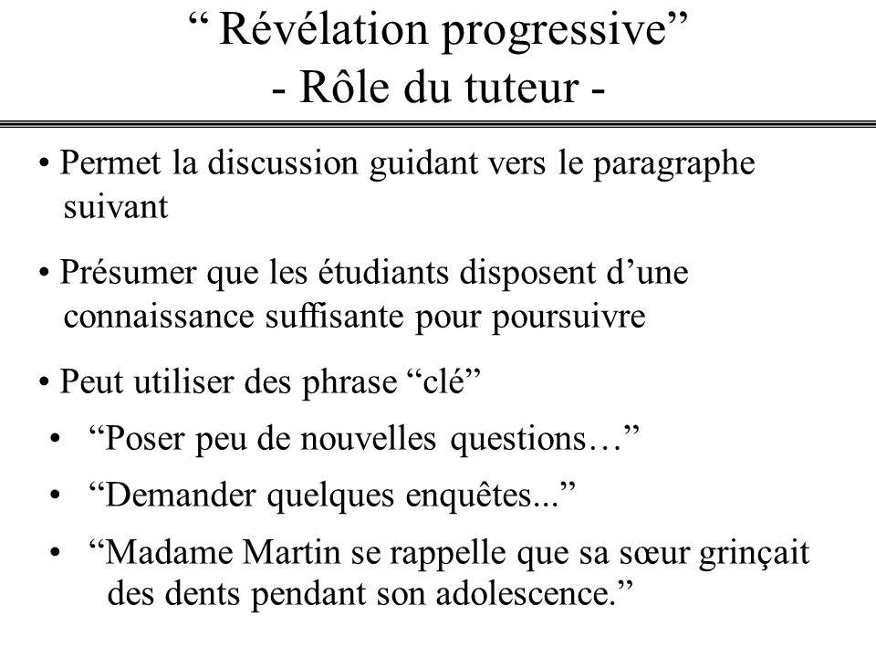 Révélation progressive - Rôle du tuteur -