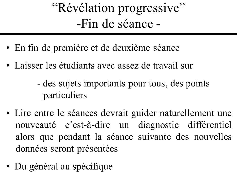 Révélation progressive -Fin de séance -