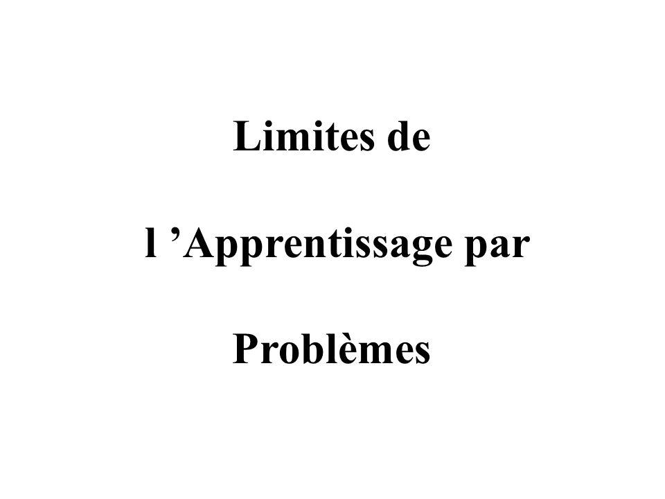 Limites de l 'Apprentissage par Problèmes