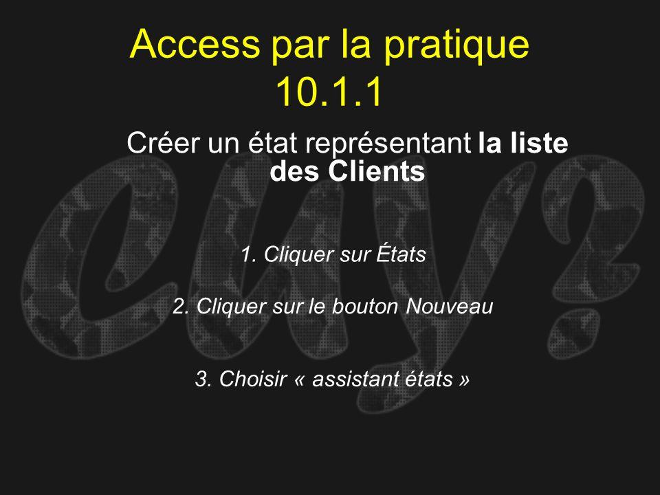 Access par la pratique 10.1.1Créer un état représentant la liste des Clients. 1. Cliquer sur États.