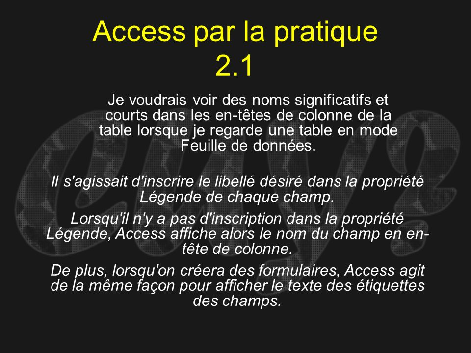 Access par la pratique 2.1