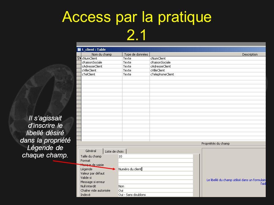 Access par la pratique 2.1 Il s'agissait d'inscrire le libellé désiré dans la propriété Légende de chaque champ.