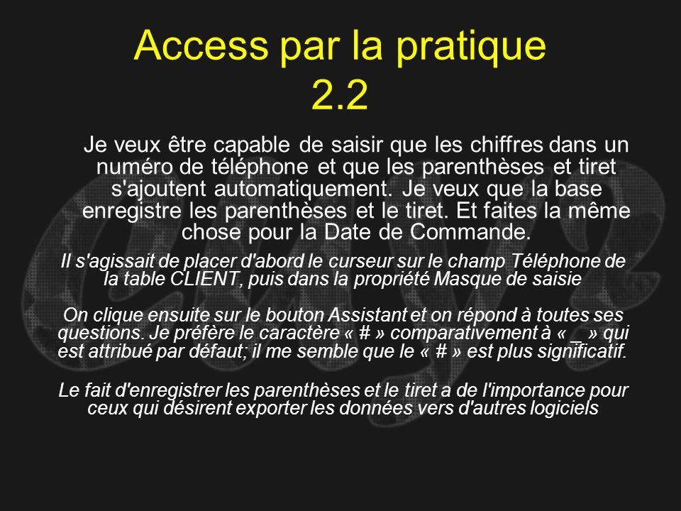 Access par la pratique 2.2