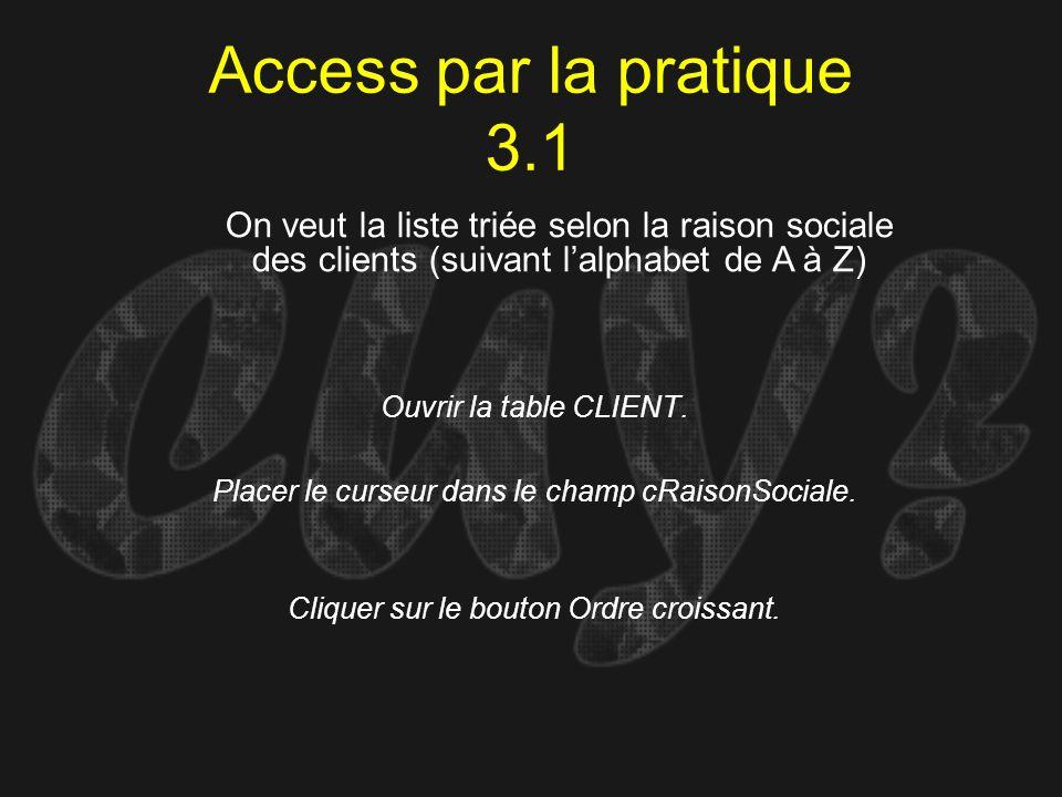 Access par la pratique 3.1On veut la liste triée selon la raison sociale des clients (suivant l'alphabet de A à Z)