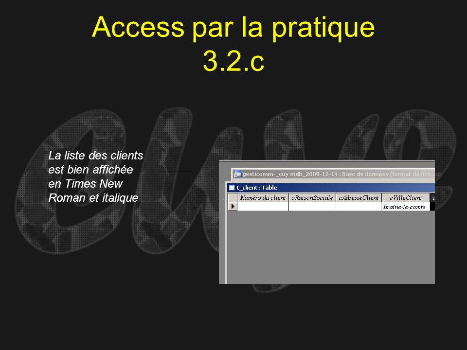 Access par la pratique 3.2.c