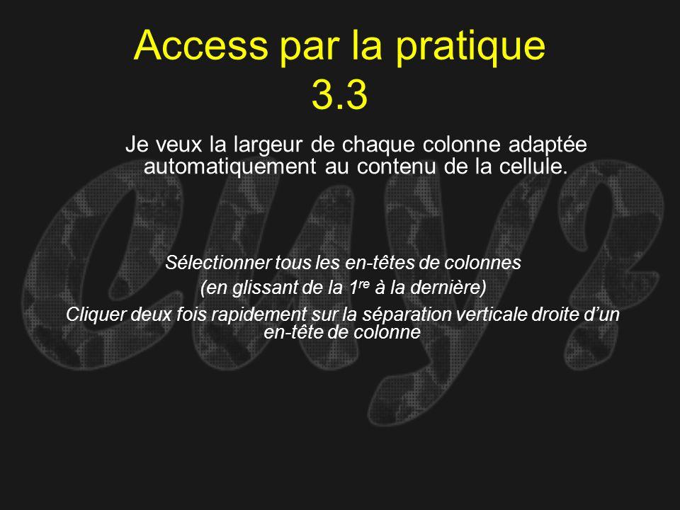 Access par la pratique 3.3Je veux la largeur de chaque colonne adaptée automatiquement au contenu de la cellule.