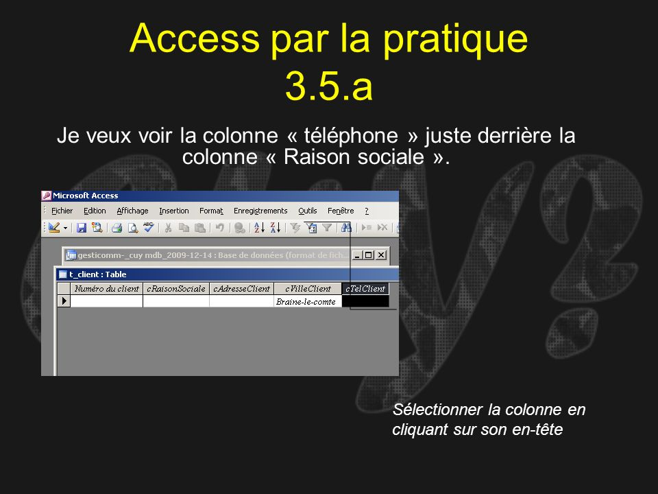 Access par la pratique 3.5.a