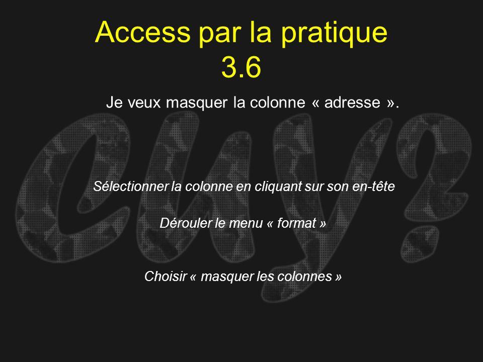 Access par la pratique 3.6 Je veux masquer la colonne « adresse ».