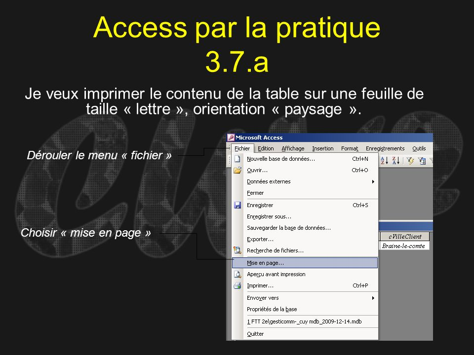 Access par la pratique 3.7.a