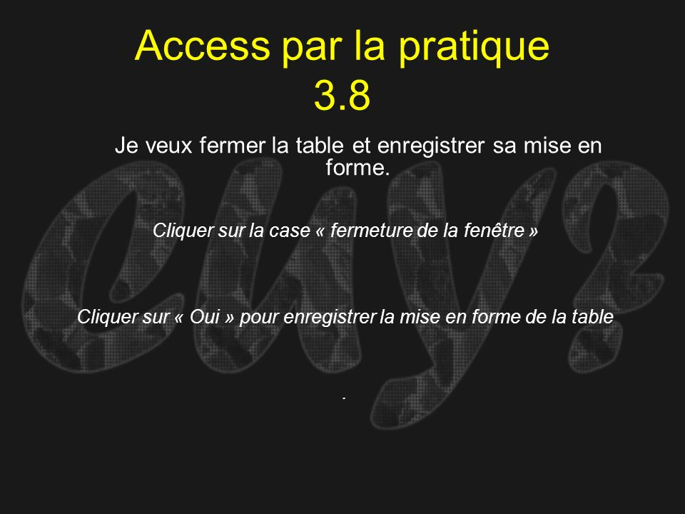 Access par la pratique 3.8 Je veux fermer la table et enregistrer sa mise en forme. Cliquer sur la case « fermeture de la fenêtre »