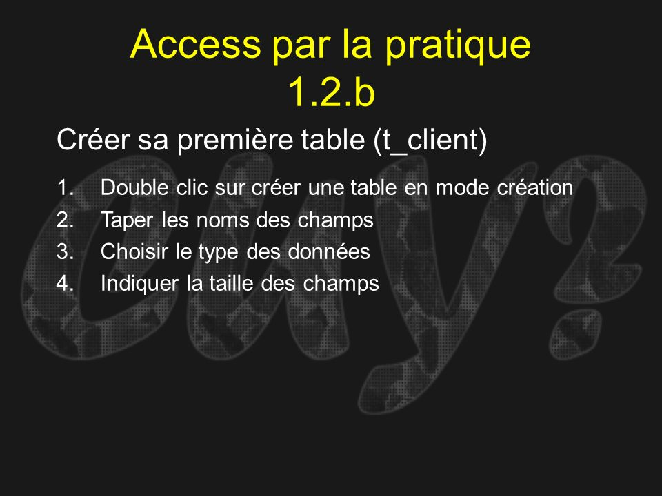 Access par la pratique 1.2.b
