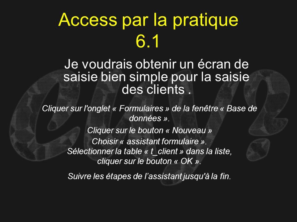 Access par la pratique 6.1Je voudrais obtenir un écran de saisie bien simple pour la saisie des clients .
