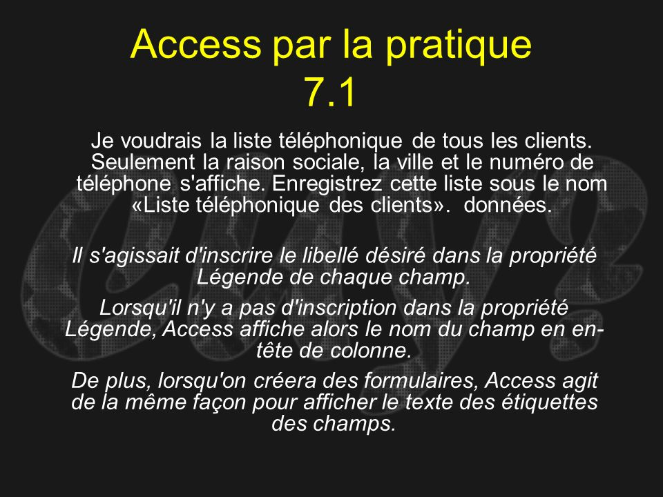 Access par la pratique 7.1