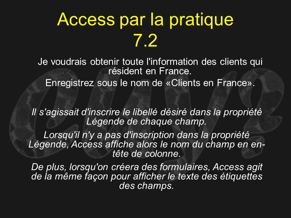 Enregistrez sous le nom de «Clients en France».