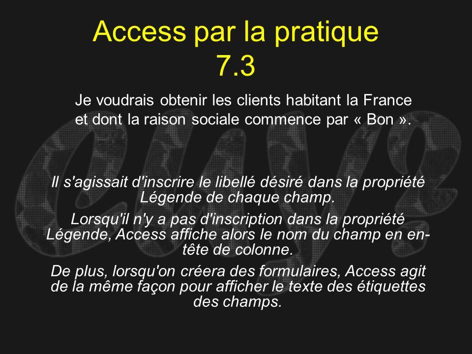 Access par la pratique 7.3 Je voudrais obtenir les clients habitant la France. et dont la raison sociale commence par « Bon ».