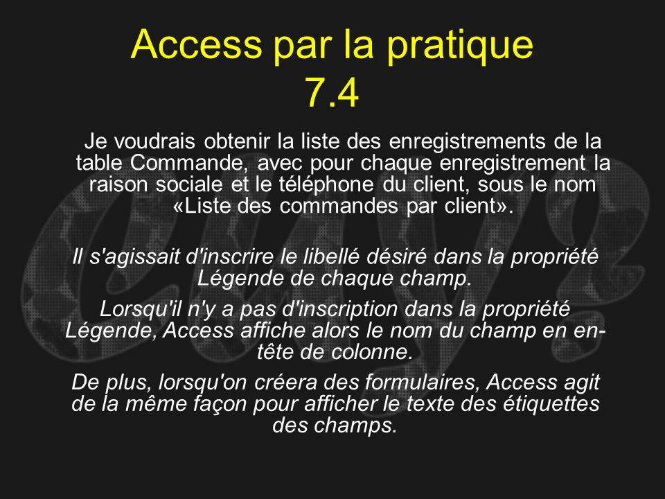 Access par la pratique 7.4