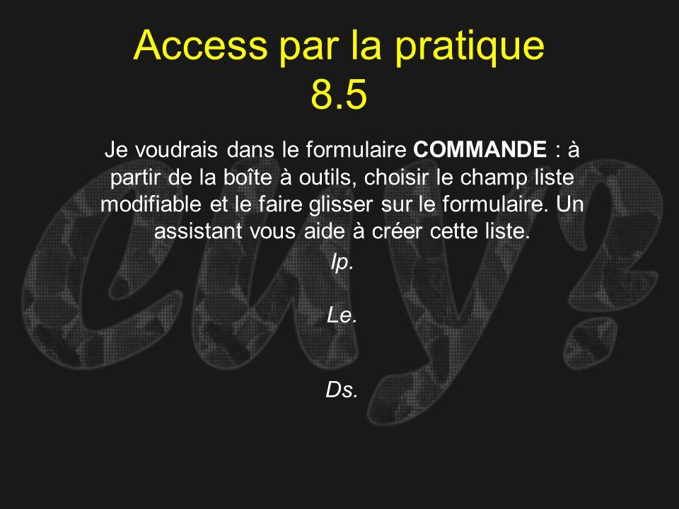 Access par la pratique 8.5