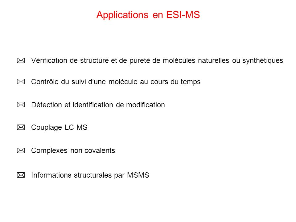 Applications en ESI-MS