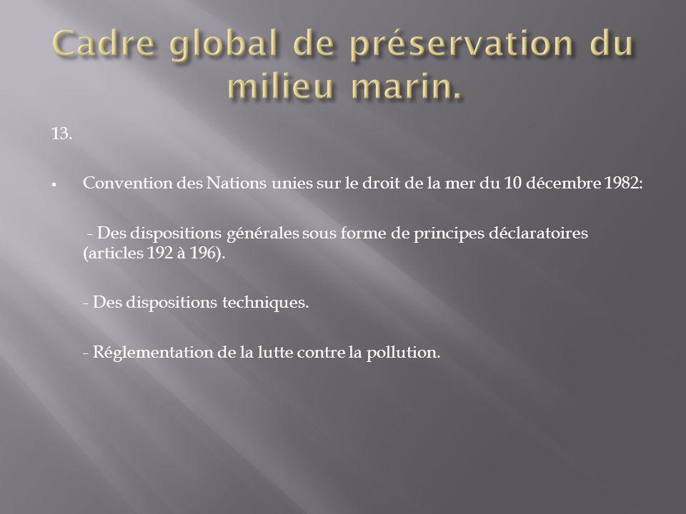 Cadre global de préservation du milieu marin.