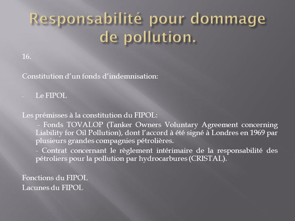 Responsabilité pour dommage de pollution.