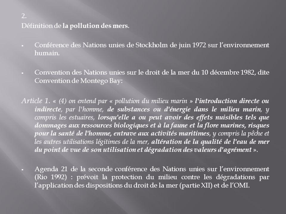 2. Définition de la pollution des mers. Conférence des Nations unies de Stockholm de juin 1972 sur l'environnement humain.