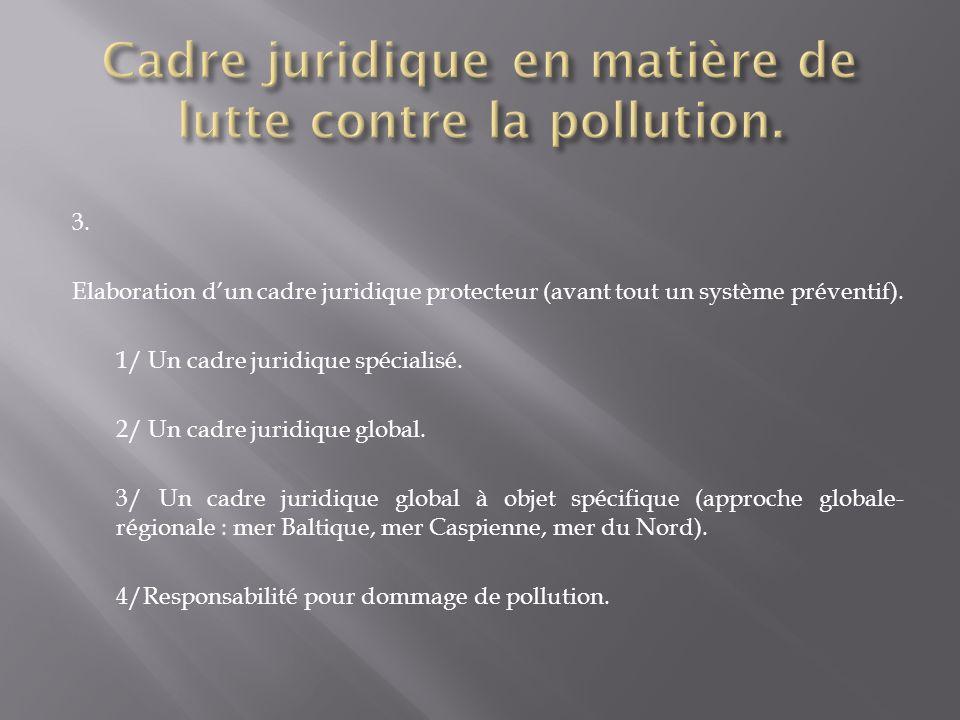 Cadre juridique en matière de lutte contre la pollution.