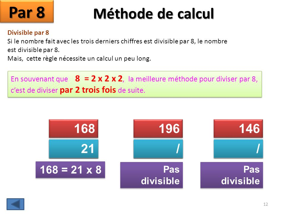 Par 8 Méthode de calcul 168 196 146 21 84 42 / 49 98 / 73 168 = 21 x 8