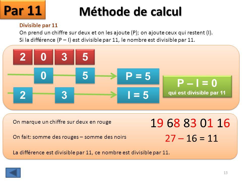 Par 11 Méthode de calcul 19 68 83 01 16 2 3 5 I = 5 P = 5 P – I = 0