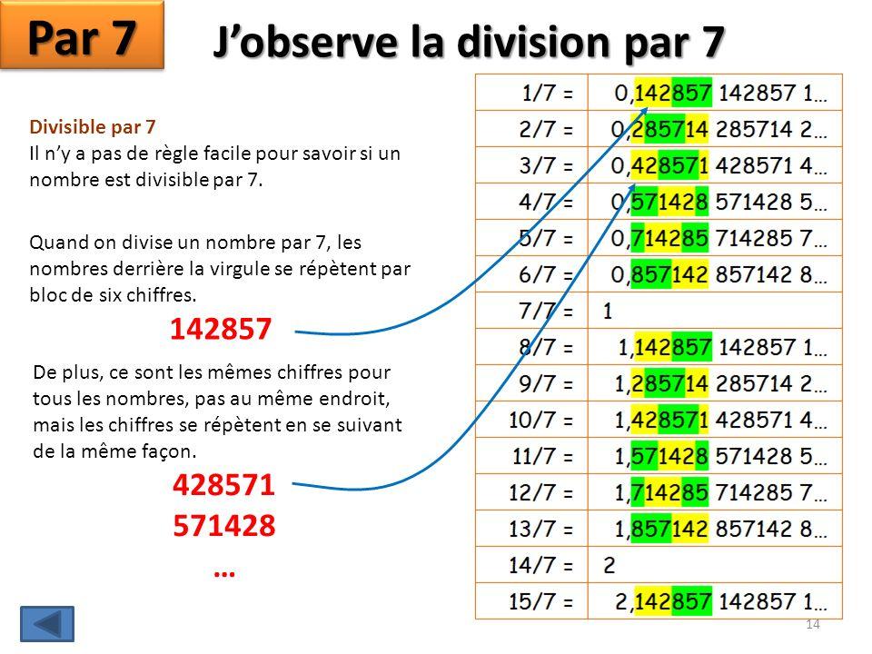 J'observe la division par 7