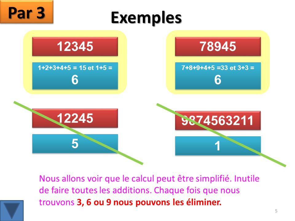 Par 3 Exemples. 12345. 78945. 1+2+3+4+5 = 15 et 1+5 = 6. 7+8+9+4+5 =33 et 3+3 = 6. 12245. 9874563211.