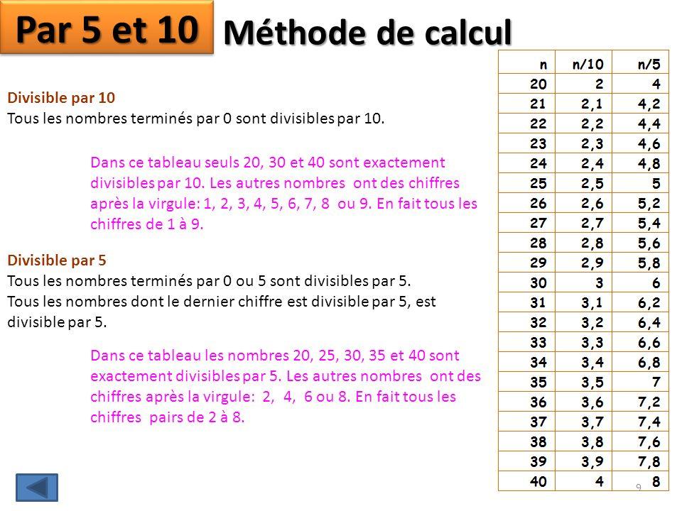 Par 5 et 10 Méthode de calcul Divisible par 10