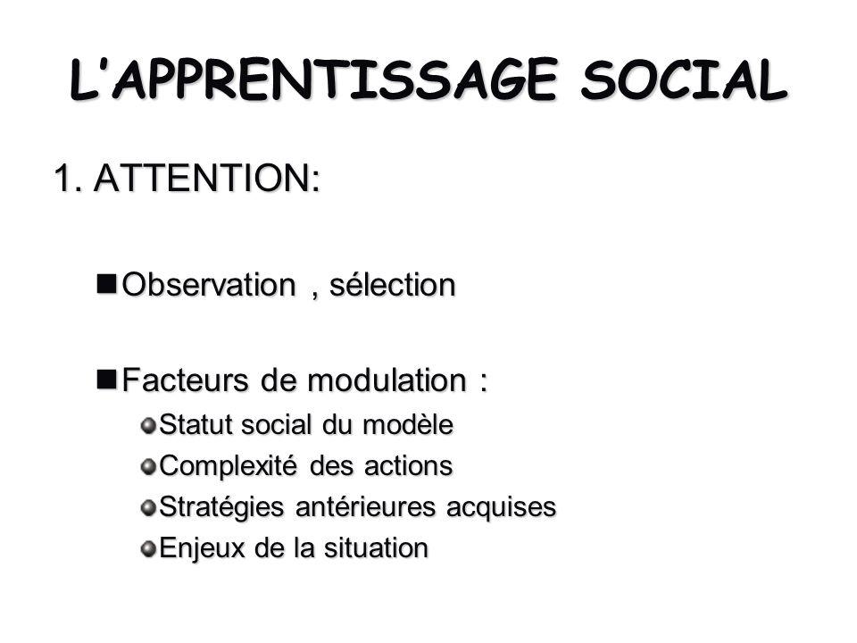 L'APPRENTISSAGE SOCIAL