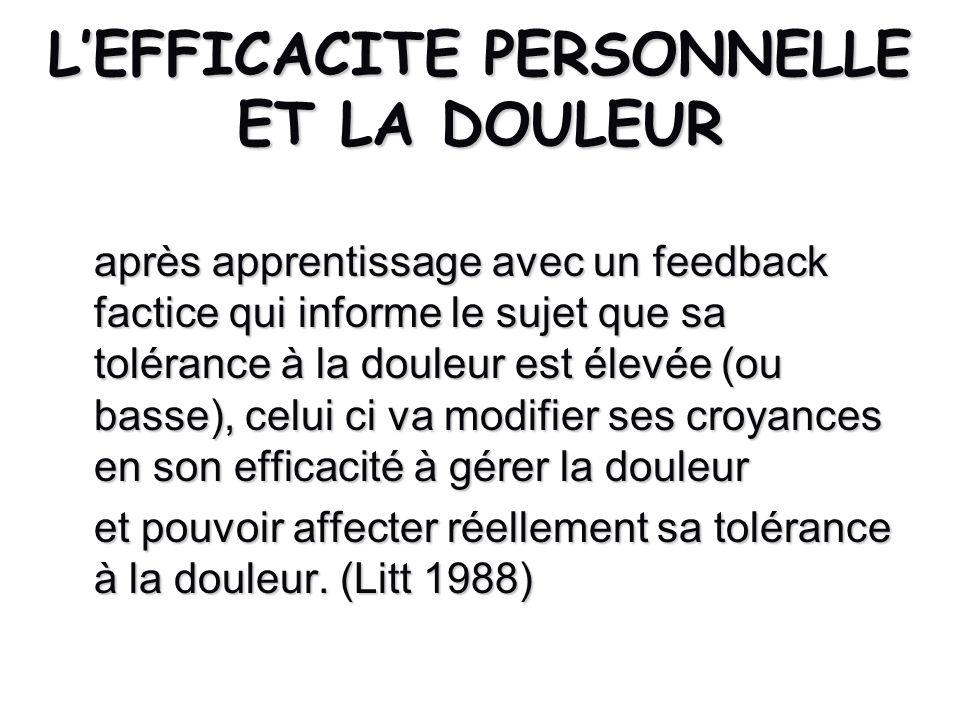 L'EFFICACITE PERSONNELLE ET LA DOULEUR
