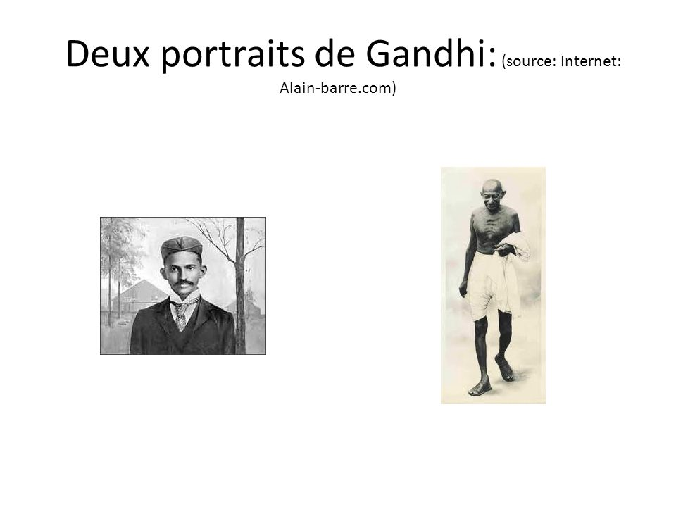 Deux portraits de Gandhi: (source: Internet: Alain-barre.com)