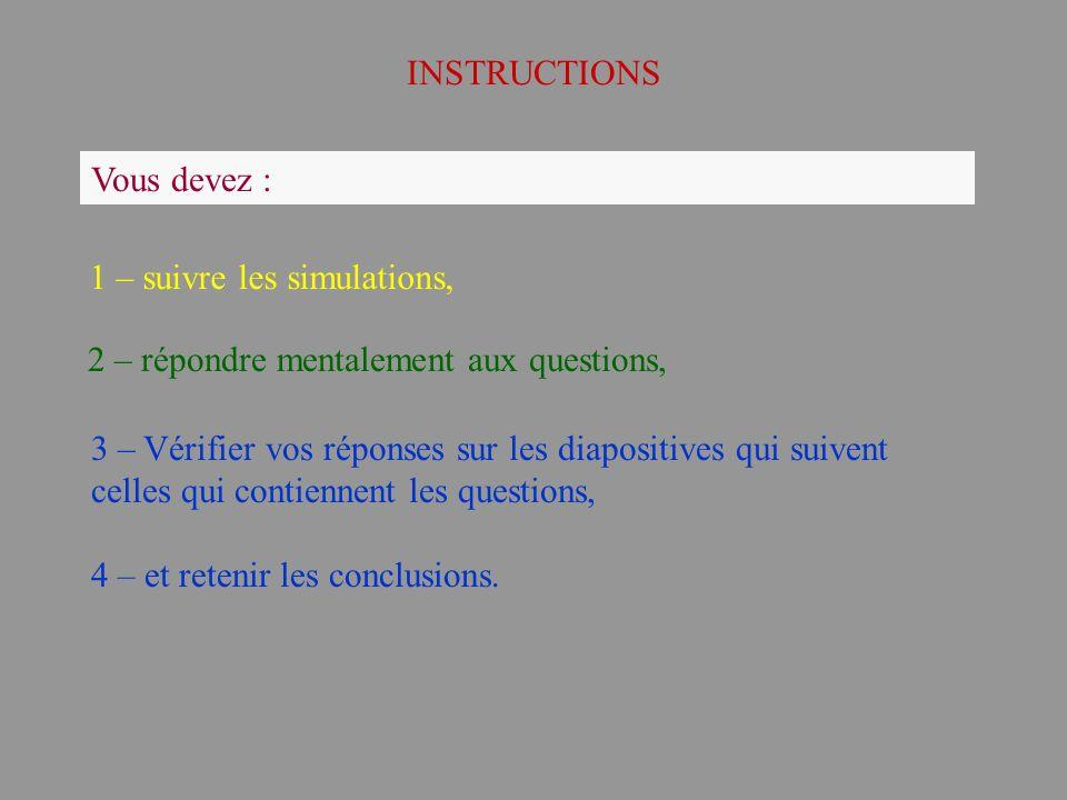 INSTRUCTIONS Vous devez : 1 – suivre les simulations, 2 – répondre mentalement aux questions,
