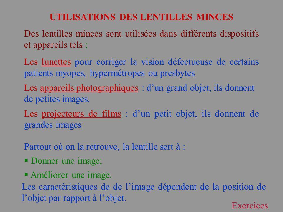 UTILISATIONS DES LENTILLES MINCES
