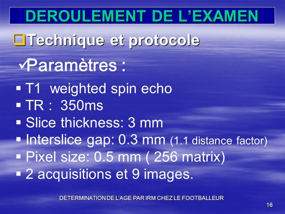 DEROULEMENT DE L'EXAMEN
