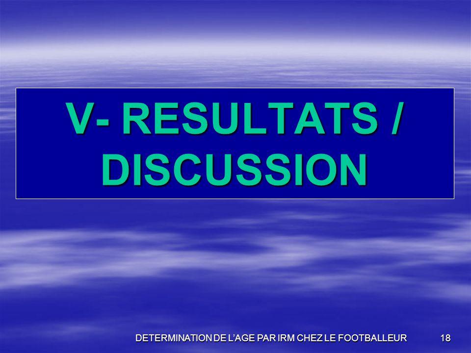 V- RESULTATS / DISCUSSION