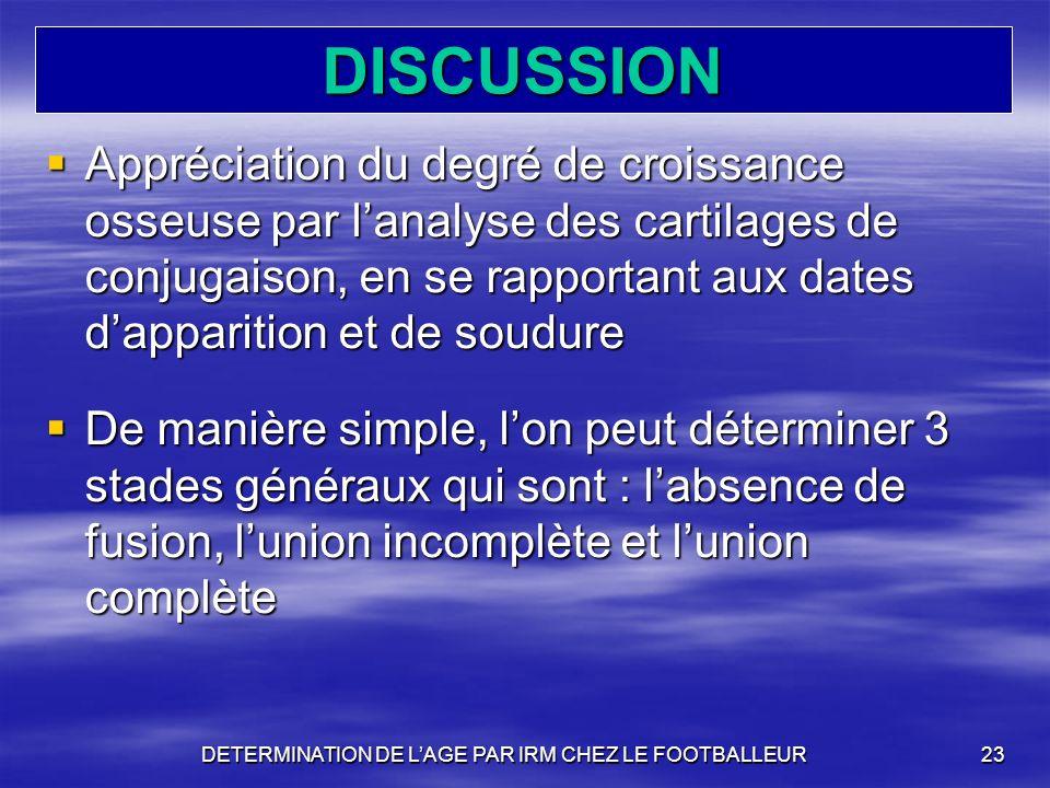 DETERMINATION DE L'AGE PAR IRM CHEZ LE FOOTBALLEUR