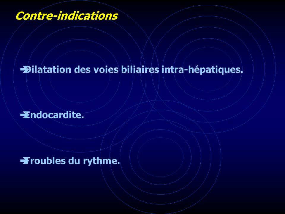 Contre-indications Dilatation des voies biliaires intra-hépatiques.