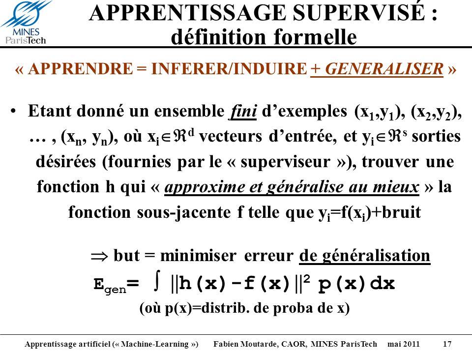 APPRENTISSAGE SUPERVISÉ : définition formelle