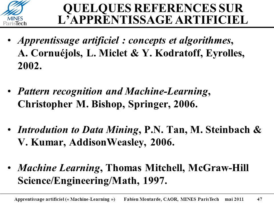 QUELQUES REFERENCES SUR L'APPRENTISSAGE ARTIFICIEL