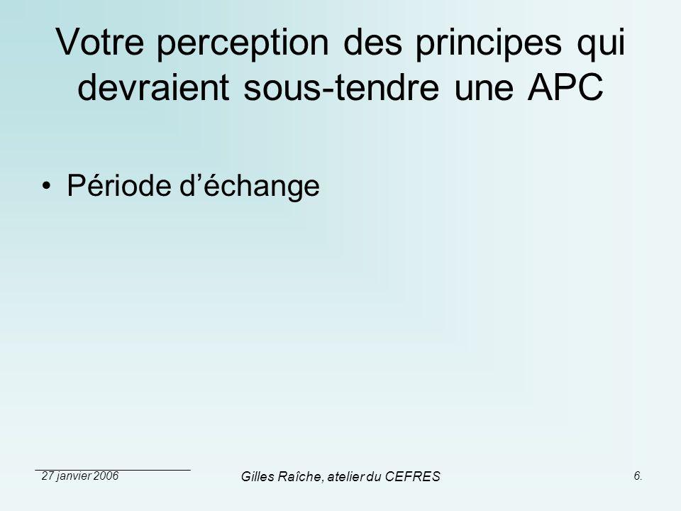 Votre perception des principes qui devraient sous-tendre une APC