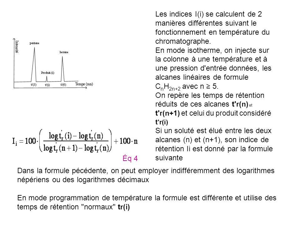 Les indices I(i) se calculent de 2 manières différentes suivant le fonctionnement en température du chromatographe.